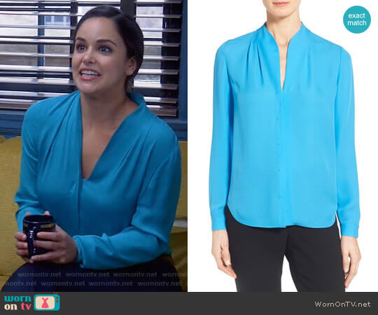Elie Tahari 'Judith' Split Neck Silk Georgette Blouse worn by Amy Santiago (Melissa Fumero) on Brooklyn Nine-Nine
