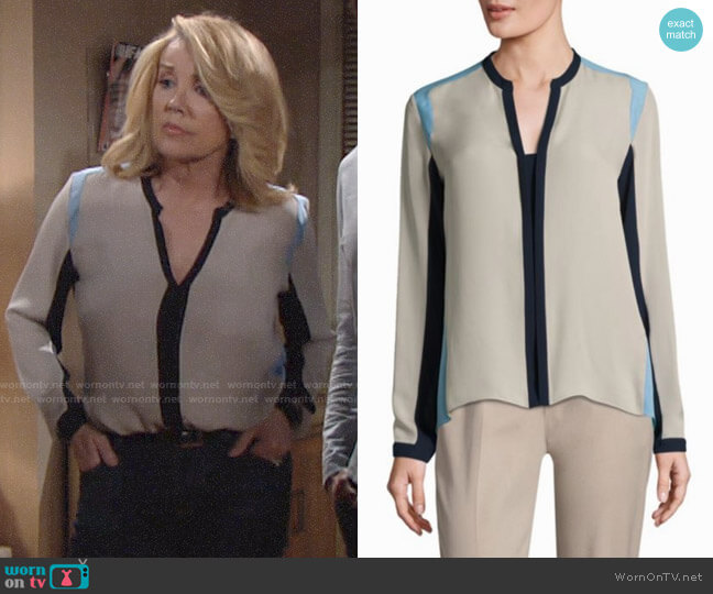 Elie Tahari Layne Colorblock Blouse worn by Melody Thomas-Scott on The Young & the Restless