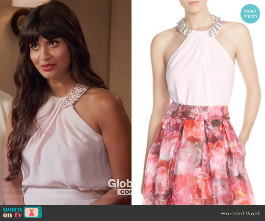 Eliza J Beaded Crepe Top worn by Tahani Al-Jamil (Jameela Jamil) on The Good Place