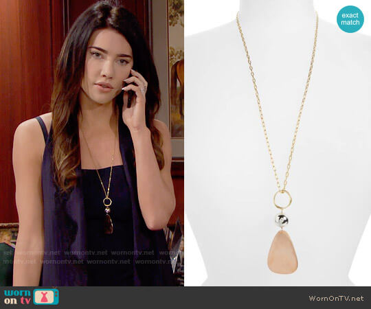 Elizabeth and James Tulum Pendant Necklace worn by Steffy Forrester (Jacqueline MacInnes Wood) on The Bold & the Beautiful