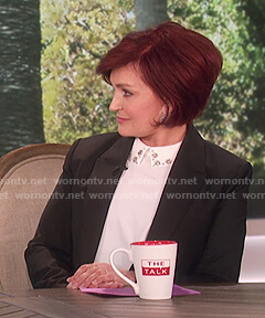 Sharon's white embellished collar top on The Talk