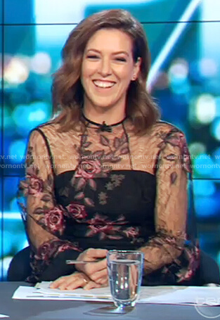 Gorgi's black lace embroidered floral dress on The Project