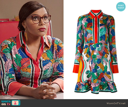 Emilio Pucci Leaf Print Dress worn by Mindy Kaling on The Mindy Project