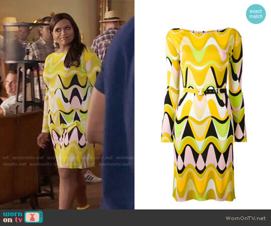 Emilio Pucci Printed Slash Neck Dress worn by Mindy Lahiri (Mindy Kaling) on The Mindy Project