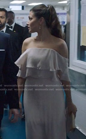 Emily's off-shoulder ruffled gown on Designated Survivor