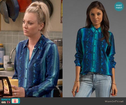 Equipment Brett Rainbow Diamondback Printed Blouse worn by Kaley Cuoco on The Big Bang Theory