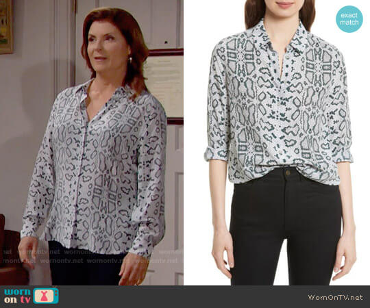 Equipment Essential Python Print Silk Shirt worn by Sheila Carter (Kimberlin Brown) on The Bold & the Beautiful