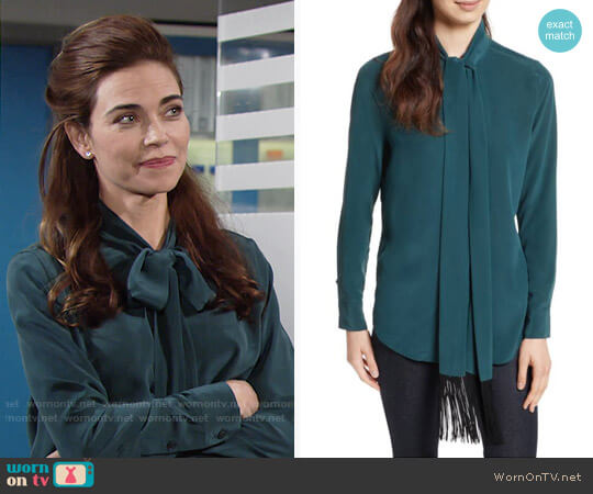 Equipment Essential Tie Neck Silk Blouse in Eden Green worn by Amelia Heinle on The Young & the Restless