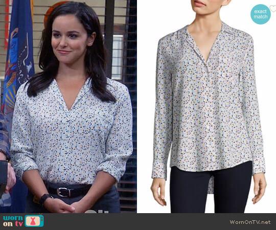 Equipment Kiera Floral Print Silk Shirt worn by Melissa Fumero on Brooklyn Nine-Nine