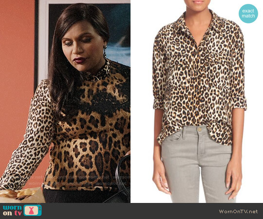 Equipment Signature Leopard Print Shirt worn by Mindy Lahiri (Mindy Kaling) on The Mindy Project