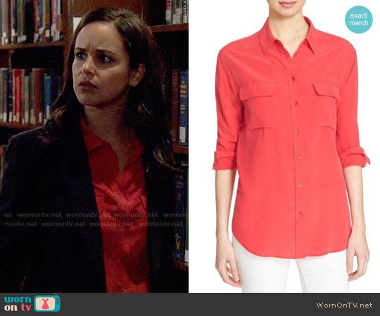 Equipment Red Slim Signature Silk Shirt worn by Amy Santiago (Melissa Fumero) on Brooklyn Nine-Nine