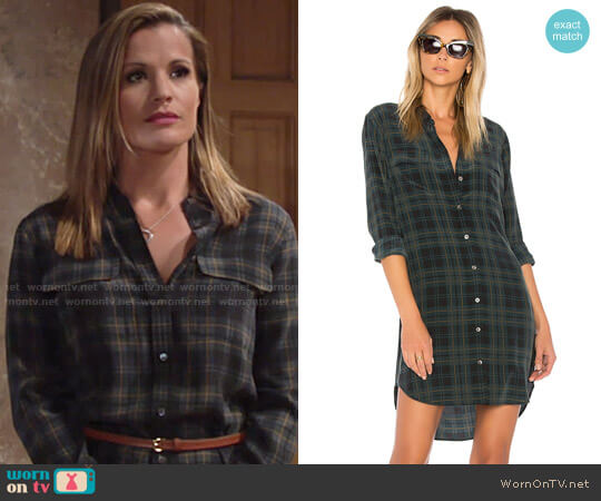 Equipment Slim Signature Plaid Dress worn by Melissa Claire Egan on The Young & the Restless