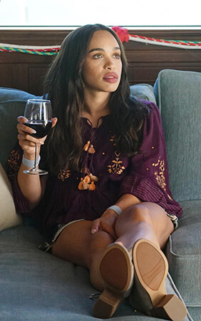 Erica's purple embroidered top on Last Man on Earth