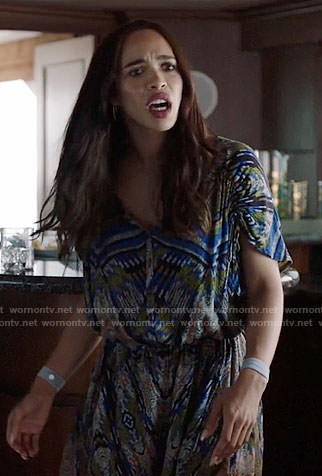 Erica's blue abstract print romper on Last Man on Earth