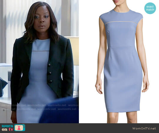 Escada Cap-Sleeve Virgin Wool Crepe Sheath Dress worn by Viola Davis on HTGAWM