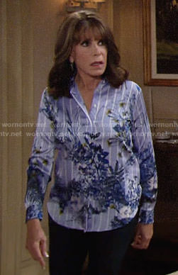 Esther's blue floral and striped shirt on The Young and the Restless