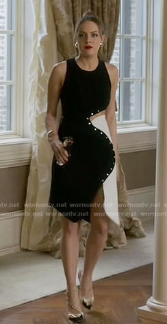 Fallon's black and white studded dress on Dynasty