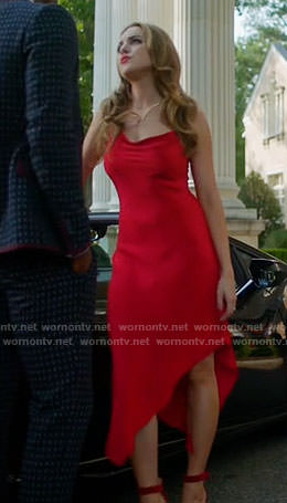 Fallon's red asymmetric slinky dress on Dynasty