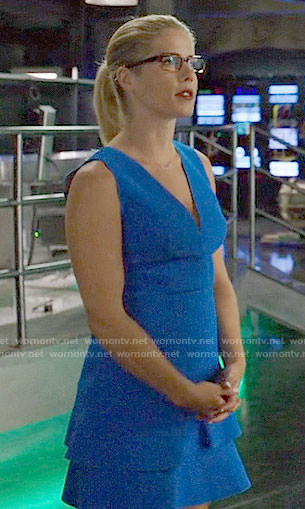 Felicity's blue v-neck ruffled dress on Arrow