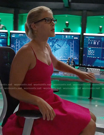 Felicity's pink fit and flare dress on Arrow