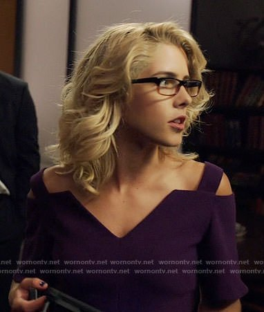 Felicity's purple cold-shoulder dress on Arrow