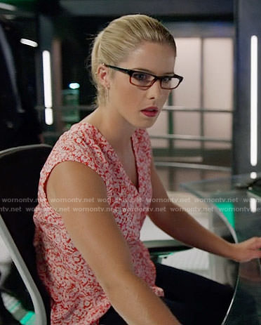 Felicity's red floral top on Arrow