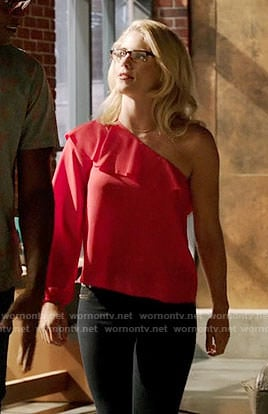 Felicity's red one-shoulder ruffled top on Arrow