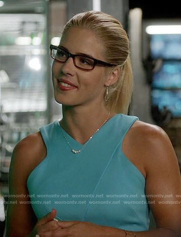 Felicity's blue v-neck sleeveless dress on Arrow