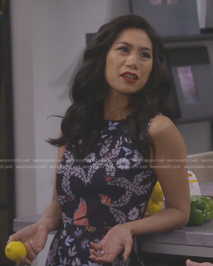 Eve's floral and butterfly print dress on 9JKL