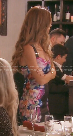Lydia's floral buckle strap dress on The Real Housewives of OC
