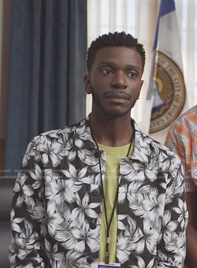 Jermaine's black and white floral print jacket on The Mayor