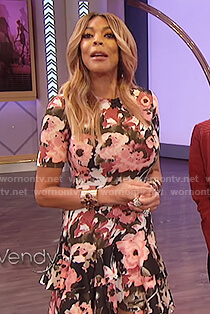 Wendy's floral fit and flare dress on The Wendy Williams Show