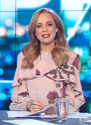 Carrie's pink floral ruffle top on The Project
