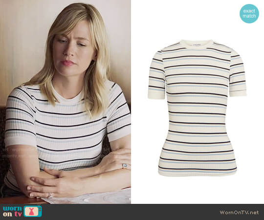 Frame Striped Ribbed Stretch-jersey T-shirt worn by January Jones on Last Man On Earth