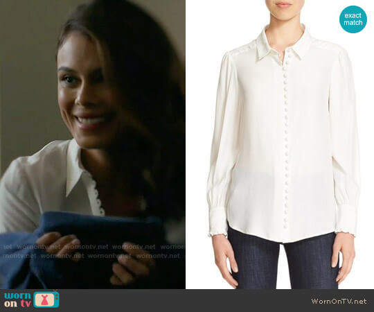 Frame Victorian Blouse worn by Nathalie Kelley on Dynasty