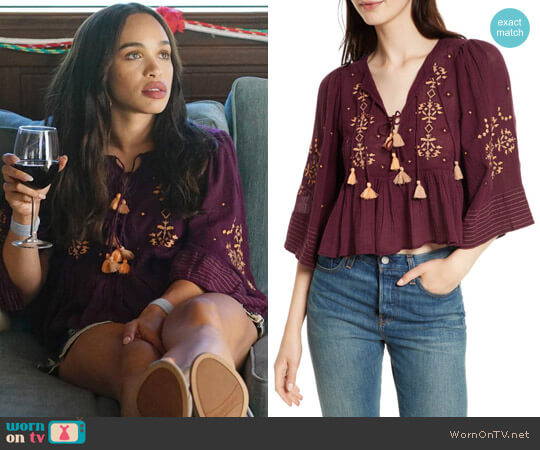 Free People Embroidered Crop Top worn by Erica Dundee (Cleopatra Coleman) on Last Man On Earth