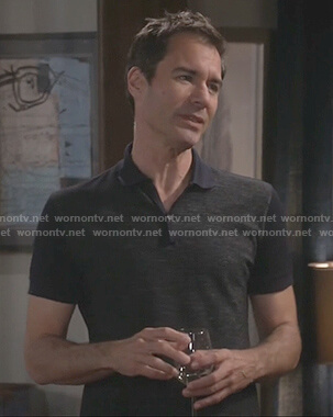 Will's navy heathered front polo on Will and Grace
