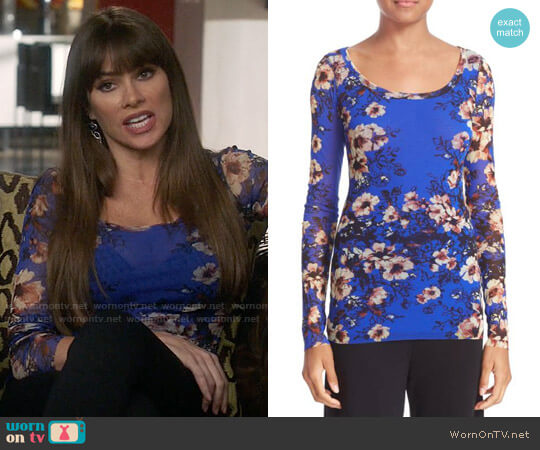 Fuzzi Floral Print Tulle Top worn by  Gloria Pritchett (Sofia Vergara) on Modern Family