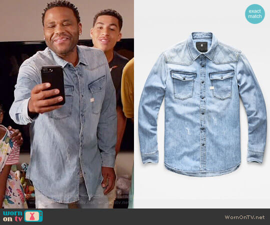 G Star Raw 3301 Quilted Denim Shirt worn by Anthony Anderson on Blackish