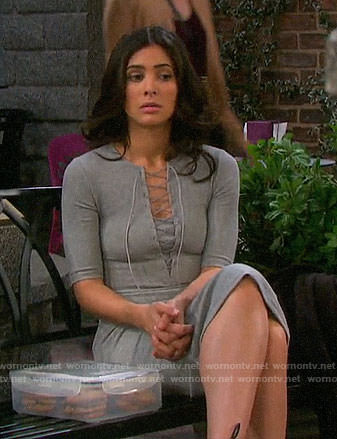 Gabi's grey lace-up dress on Days of our Lives