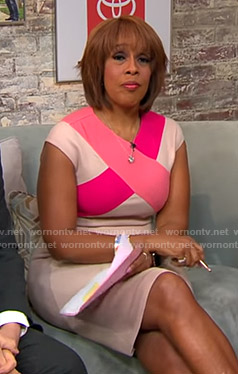 Gayle's pink cross front dress on CBS This Morning
