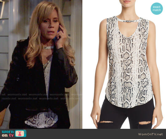 Generation Love Cecile Cutout Snake Print Tank worn by Alice Johnson (Tamara Clatterbuck) on The Young & the Restless