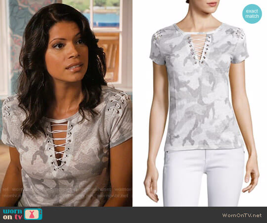 Generation Love Hugo Short Sleeve Lace-Up Top worn by Xiomara Villanueva (Andrea Navedo) on Jane the Virgin