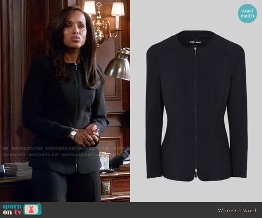 Giorgio Armani Single Breasted Silk Cady Jacket worn by Olivia Pope (Kerry Washington) on Scandal