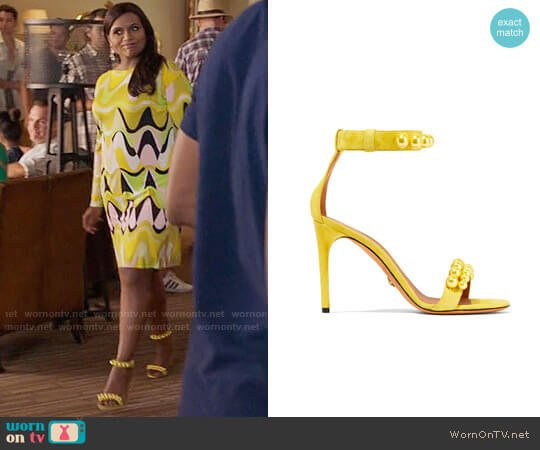 Givenchy Faux Pearl-embellished Suede Sandals worn by Mindy Lahiri (Mindy Kaling) on The Mindy Project