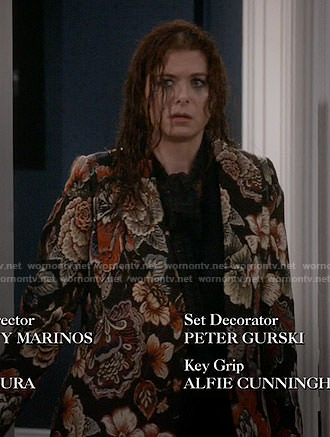 Grace's floral tapestry coat on Will and Grace