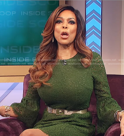 Wendy's green bell sleeve lace dress on The Wendy Williams Show