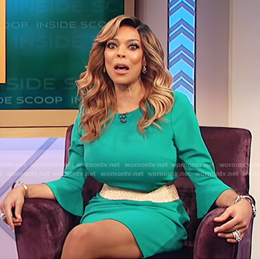 Wendy's green bell sleeve sheath dress on The Wendy Williams Show