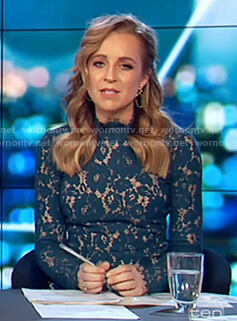 Carrie's green floral lace top on The Project