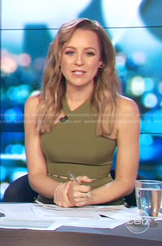 Carrie's green waist cutouts jumpsuit on The Project
